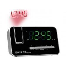 2421-7 Радиочасы с проектором FIRST 1.2  LED (зеленый), фокус 180 гр., FM, кварц., календарь.Silver