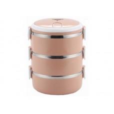 Термо ланчбокс, 3-ярусный  MercuryHaus , MC - 6683 (60) розовый (-)
