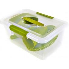 Набор д/пикника Bono на 4 персоны в контейнере (8) оливковая роща (салатники 1,7 л-1шт, стаканы-4шт,  сервировочные тарелки-4шт, вилка-4шт)