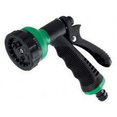 Пистолет для полива 7 режимов распыления, материал: высокопрочный ABS пластик, полипропилен, TPR пластик, резина, металл. Упаковка: подвесная карта