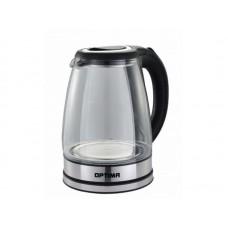 Чайник эл. OPTIMA EK-1821G Черный (1,8л, 2200Вт.,пов. на 360 градусов, корп. из стекла) Черный