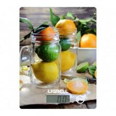 Весы кухонные LIGRELL LKS-521D (макс 5кг.,вычет веса тары, индик.перегрузки, закаленное стекло) Лимоны