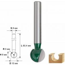 Фреза пазовая галтельная DxHxL=10х9х60,4мм (100шт/уп)
