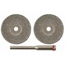 Круги с алмазным напылением 40мм, 2 шт. и штифт д. 3мм (40/400шт/уп)