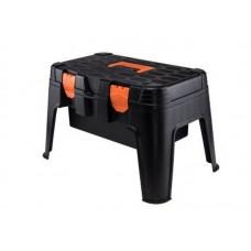 Ящик-стул Master для инструмента 53х33,5х32см со съемным внутренним лотком,  выдерживает нагрузку до 120кг, черный/оранжевый (BR3783)