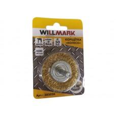 Корщетка WILLMARK тип  колесо для дрели стальная  латунированная проволока 0,3мм размер 50мм