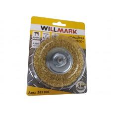 Корщетка WILLMARK тип  колесо для дрели стальная  латунированная  проволока 0,3мм размер 100мм