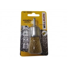 Корщетка WILLMARK  кисть для дрели стальная латунированная проволока 0,3мм размер 25 мм