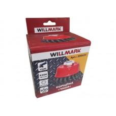 Корщетка WILLMARK тип  чаша для УШМ (гайка М14х2) витая стальная проволока 0,5мм размер 100мм