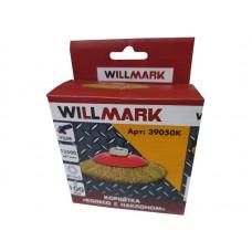 Корщетка WILLMARK тип  колесо  с наклоном для УШМ (гайка М14) стальная латунированная проволока 0,3мм размер 100мм