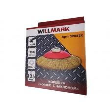 Корщетка WILLMARK тип  колесо  с наклоном для УШМ (гайка М14) стальная латунированная проволока 0,3мм размер 125мм