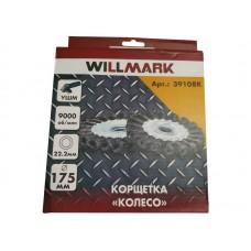 Корщетка WILLMARK тип  колесо  для УШМ стальная проволока 0,5мм размер 175мм посад. 22,2мм