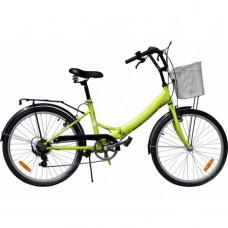 Велосипед Torrent Discоvery 7 + корзина, Зеленый (рама сталь 16  складная, дорожный, 7 скоростей, SHIMANO, колеса 24д.) 24  / 16  / Зеленый