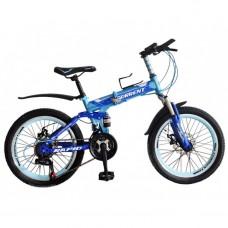 Велосипед TORRENT Rapid (рама сталь 14,5 , подростковый, внедорожный, 21 скорость, колеса 20д.) 20  / 14,5  / Голубой, синий