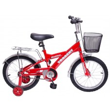 Детский велосипед TORRENT Meridian (1 скорость, добавочные колеса, рама сталь, колеса 16 , корзина) 16  / 10,5  / Красный