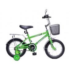 Детский велосипед TORRENT Saturn (1 скорость, добавочные колеса, рама сталь, колеса 14 , корзина) 14  / 9,5  / Зеленый