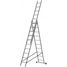 Лестница трехсекционная алюминиевая, 3 х 10 ступеней, H=285/481/674 см, вес 12,19 кг