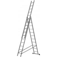 Лестница трехсекционная алюминиевая усиленная, 3 х 11 ступеней, H=316/539/759 см, вес 16,61 кг