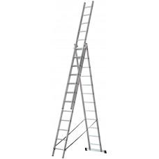 Лестница трехсекционная алюминиевая усиленная, 3 х 12 ступеней, H=343/594/841 см, вес 17,83 кг