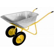 Тачка строительная, усиленная WB6418HS, желтая, 100л., грузоподъемность 300 кг, колесо 13 х3.00-8 (355/74мм, 20/96мм). Толщина корыта 0,8мм, диаметр рамы 30 мм, толщина рамы 1,2 мм.