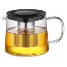 Чайник для заваривания 600 мл из стекла и пластика с ситом из нержавеющей стали черный TC-303